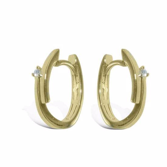 Diamant øredobber i gult gull - 736947