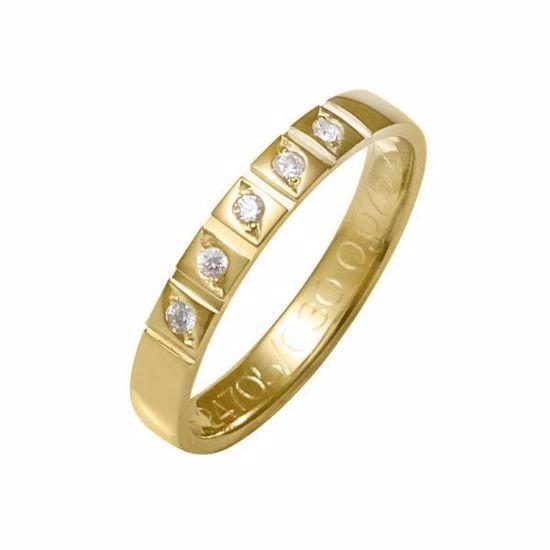 Flerstens diamantring med 5x0,015 ct W-Si i 9kt gull - 4124705