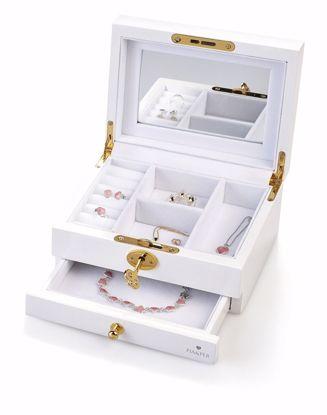 Smykkeskrin med graveringsplate, hvit -9002