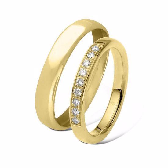 Giftering & diamantring 0,27ct gult gull 4 mm -1440-11034630
