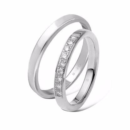 Giftering & diamantring 0,27ct hvitt gull 3 mm - 11530-1103463