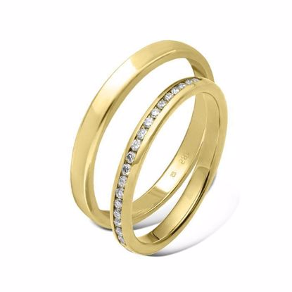 Giftering & diamantring  0,22 ct gult gull  3 mm - 115300-11020460