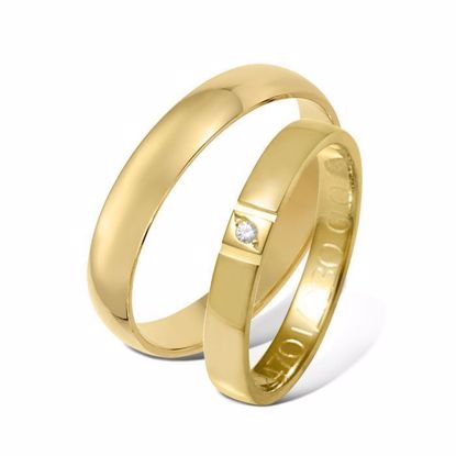 Giftering & diamantring 0,015 ct gult gull 4 mm - 1240-4124701