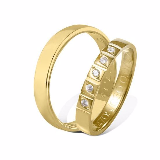 Giftering & diamantring 0,075 ct gult gull 4 mm - 115400-4124705