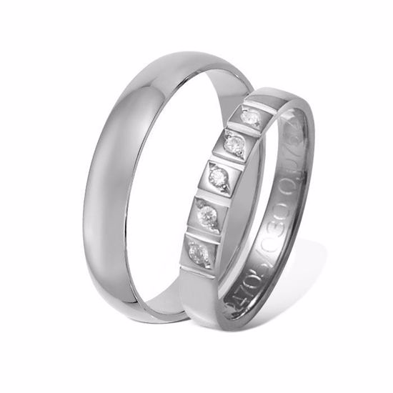 Giftering & diamantring 0,075 ct hvitt gull 4 mm - 1340-41247050