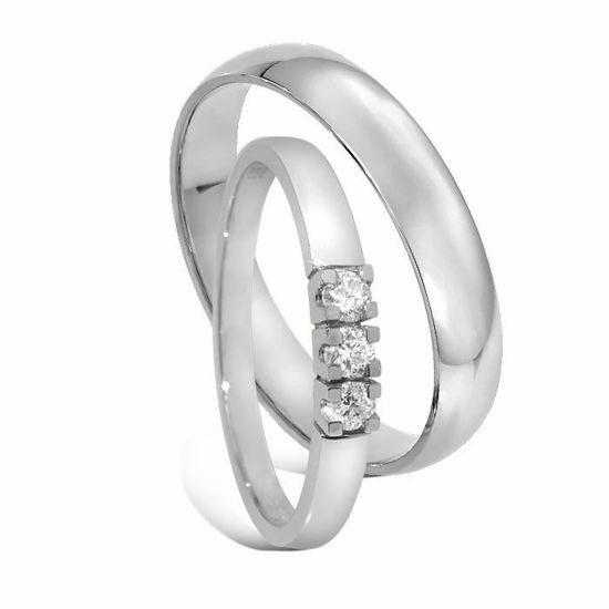 Giftering & diamantring Iselin 0,15ct hvitt gull- 1340-8503050