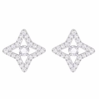 Swarovski øredobber Sparkling Dance Star Stud, Rhodium plating - 5364218