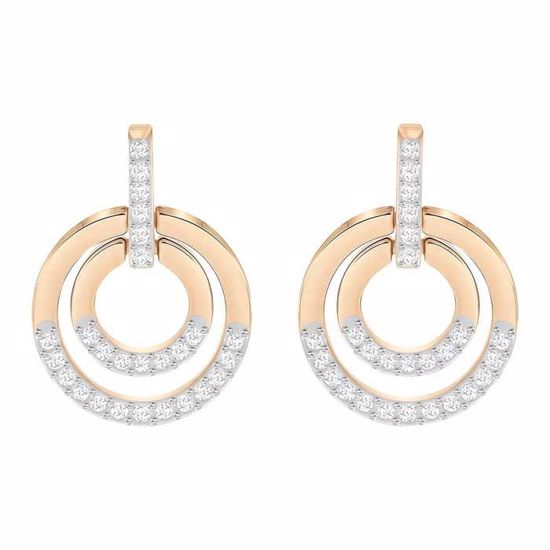 Swarovski øredobber Circle, Medium, Rose gold plating - 5349204