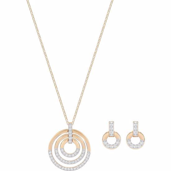 Swarovski smykkesett. Circle, Medium, Rose gold plating - 5367890