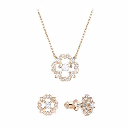 Swarovski smykkesett. Sparkling Dance Flower, Rose gold plating - 5408439