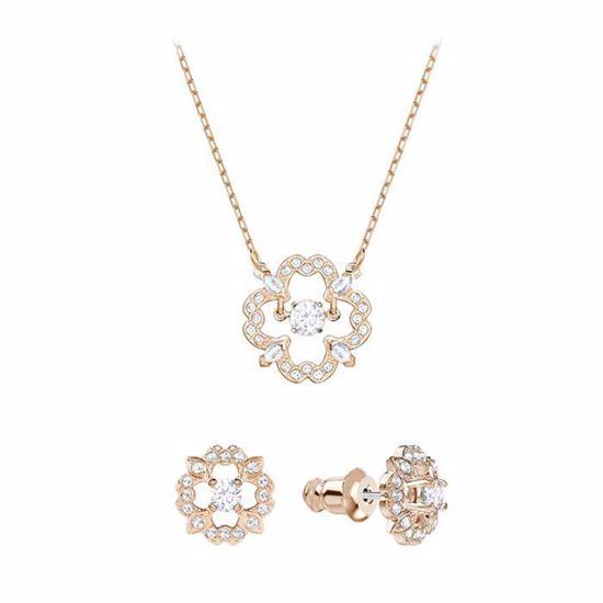 Swarovski smykkesett. Sparkling Dance Flower, Rose gold plating - 5408439