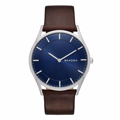 Skagen klokke. Holst Blue Dial Brown Leather Men's - SKW6237
