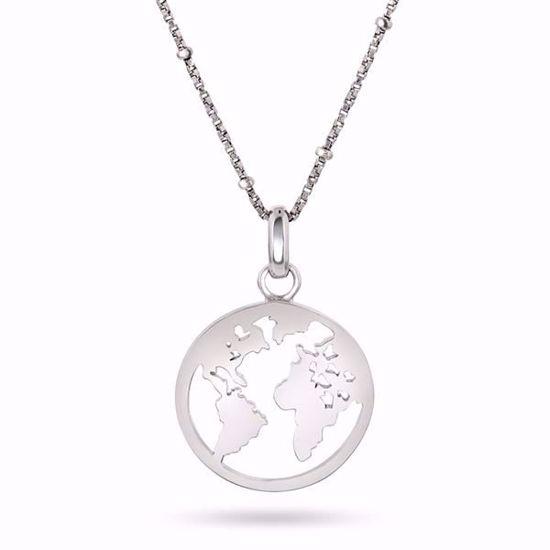 Smykke i sølv verdens kart - 990153