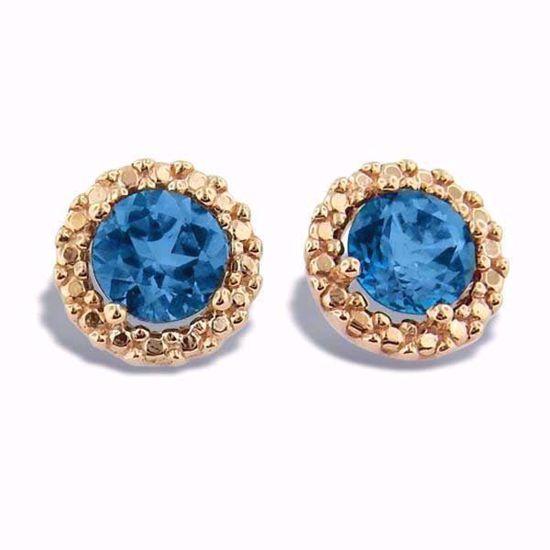 Øredobber i rosé gull med blå topas -350478