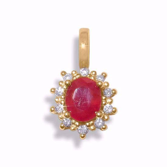 Diamantsmykke med 0,05 ct W-P1 og rubin-260120