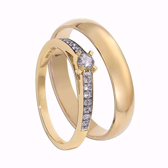 Giftering & diamantring 0,17 ct gull 14kt, 4 mm - 1240-COC017
