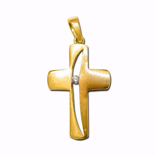 Kors i gult gull med diamant 0,01ct w-pi-79014707