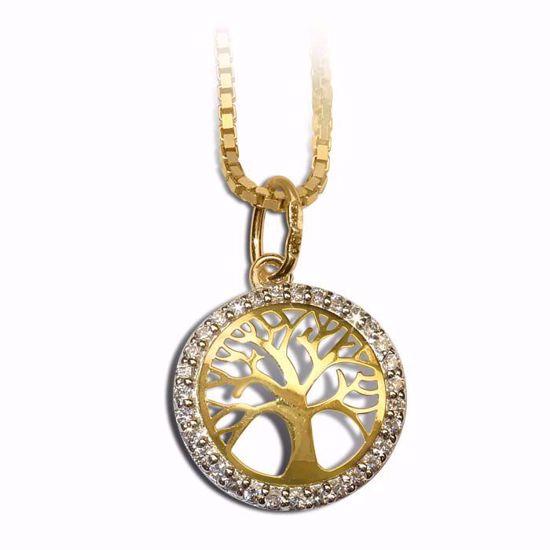 Smykke i gult gull med zirkonia - 994595