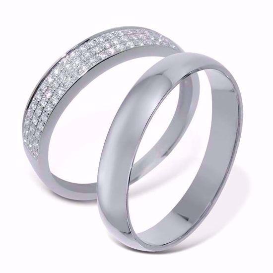 Giftering & diamantring 0.16 ct hvitt gull, 4 mm - 1340-3307016