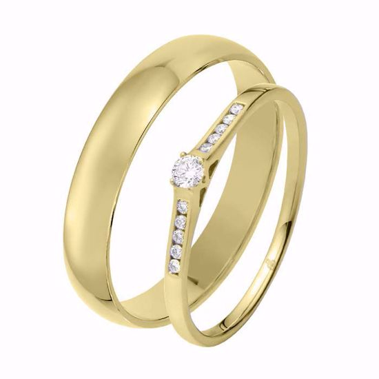 Giftering & diamantring 0,10 ct TW-Si i gult gull - 51000320-1240
