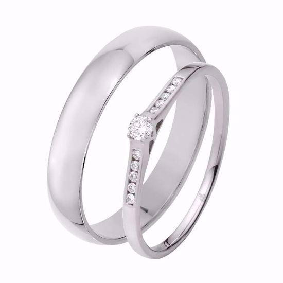 Giftering & diamantring 0,10 ct TW-Si i hvitt gull -5100032-1340