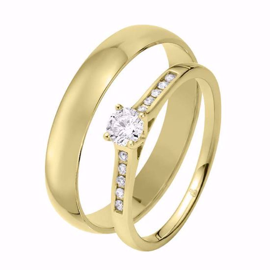 Giftering & diamantring 0,29 ct TW-Si i gult gull - 51000350-1240
