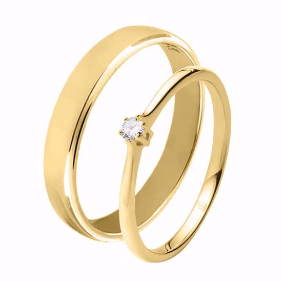 Giftering & diamantring 0,06 ct TW-Si i gult gull - 51000120-115400