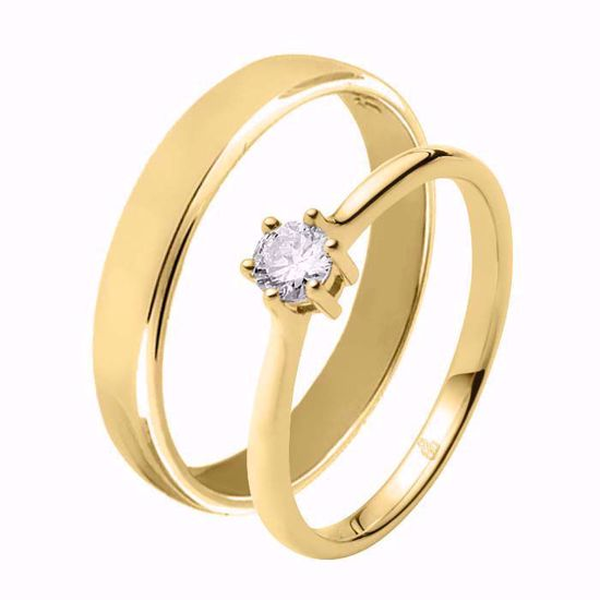 Giftering & diamantring 0,21 ct TW-Si i gult gull - 51000150-115400
