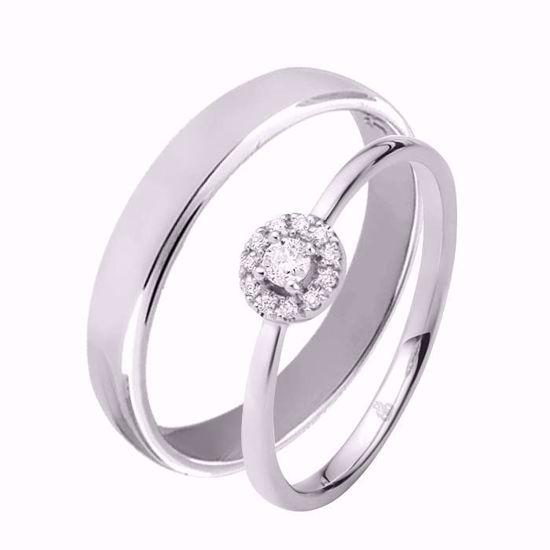 Giftering & diamantring 0,12 ct TW-Si i hvitt gull -5100022-11540