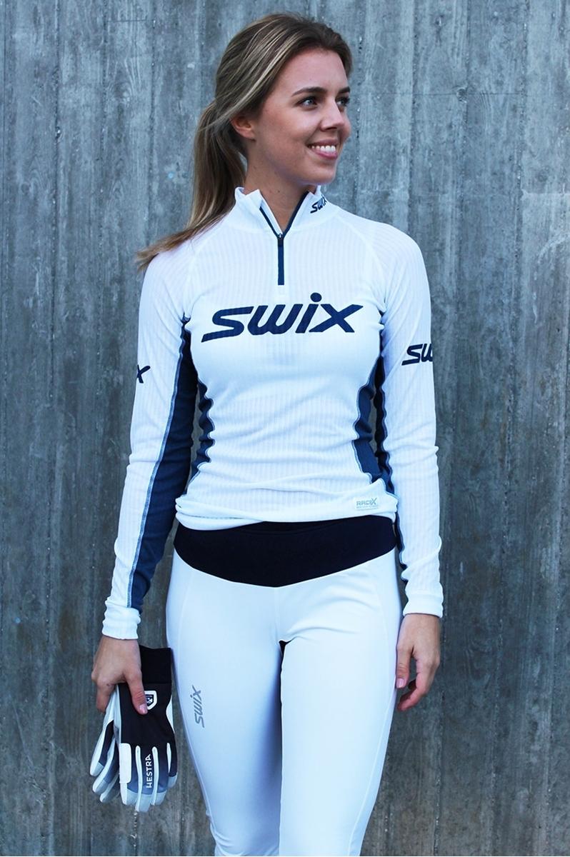 Groovy Swix RaceX bodyw halfzip Womens Bright White/Majolica- Nava Sport KZ-37