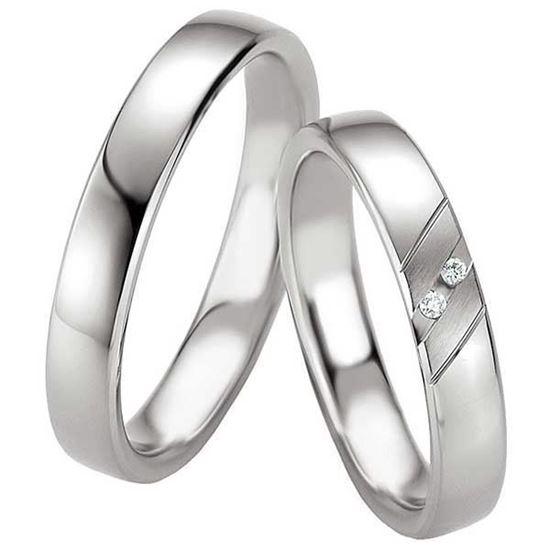 Samboerringer i sølv, 4 mm. SØLV MED DIAMANT - 4808085