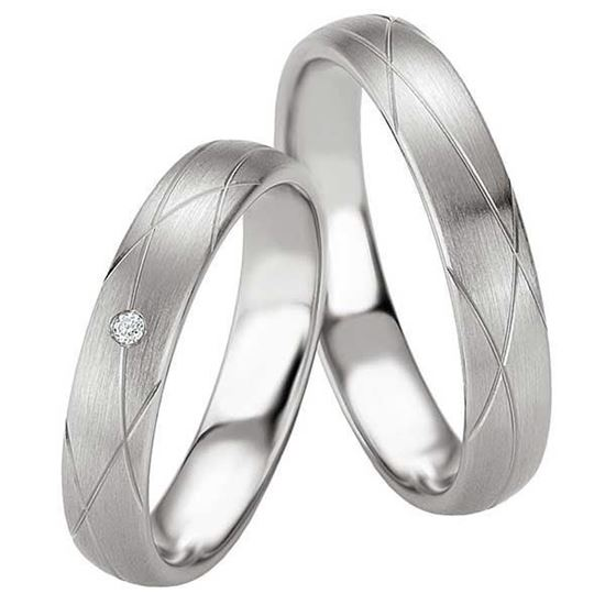 Samboerringer i sølv, 4.5 mm. SØLV MED DIAMANT - 4808073