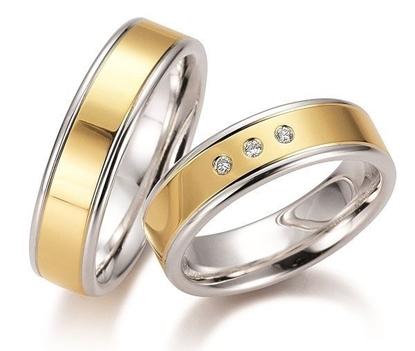 Gifteringer i sølv & gult gull 14kt, 6 mm. GETTMANN - 830360
