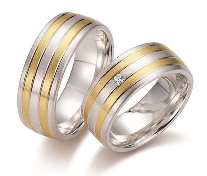 Gifteringer i sølv & gult gull 14kt, 8 mm. GETTMANN - 830580