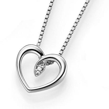 Diamantsmykke i hvitt gull (liten )- 6482993