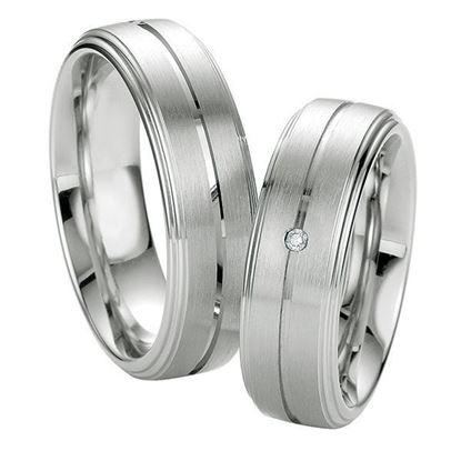 Samboerringer i sølv, 7 mm. SØLV MED DIAMANT - 4808045