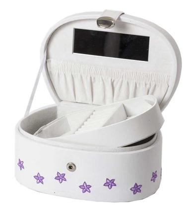 Smykkeskrin, hvitt med lilla blomster - 97054
