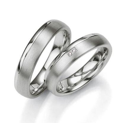 Samboerringer i sølv, 5 mm. SØLV MED DIAMANT - 4808021