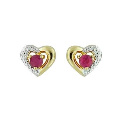 Øredobber gull med rødt zirkonia-1390140