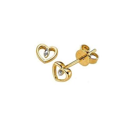 Øredobber i gull 14 kt med en diamant -6482994
