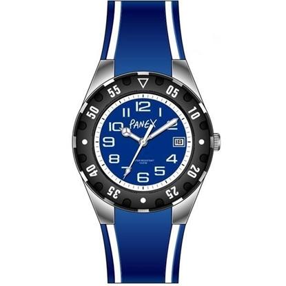 Panex Klokke Stål/Silikon sort/blå - 977442