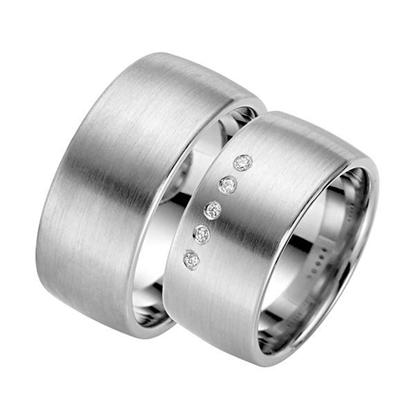 Gifteringer i sølv rhodinert, 10 mm. RAUSCHMAYER - 1009220