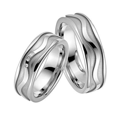 Gifteringer i sølv rhodinert, 7 mm. RAUSCHMAYER - 1071320