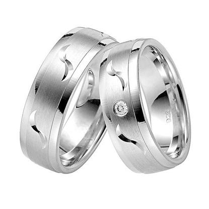 Gifteringer i sølv rhodinert, 7 mm. -107037