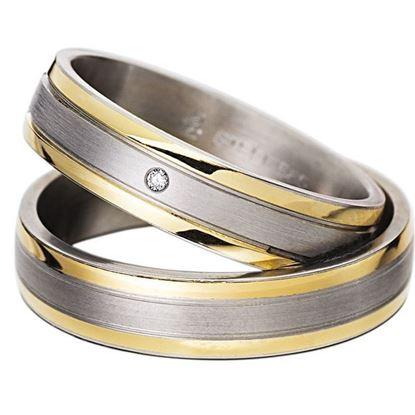 Gifteringer i stål & gult gull 14 kt, 5 mm. RAUSCHMAYER - 160020