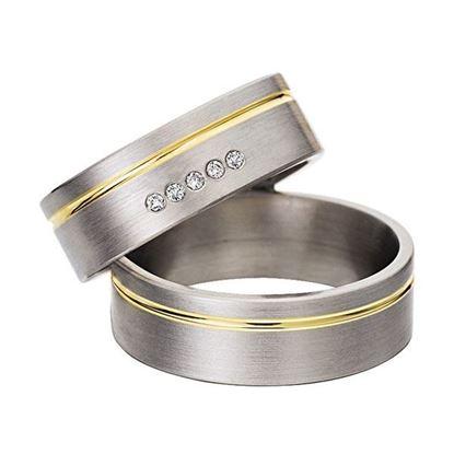 Gifteringer i stål & gult gull, 7 mm. RAUSCHMAYER-160025