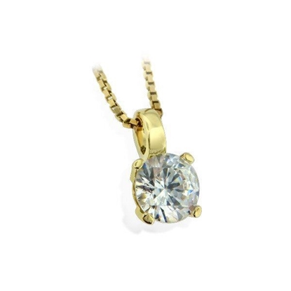 Smykke i gult gull med zirkonia-283130
