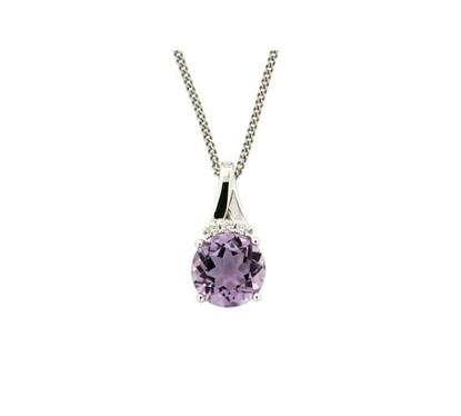 Diamantsmykke med 0,03 ct W-P1 & ametyst-320569