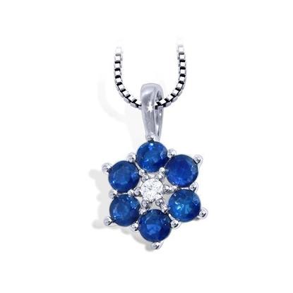 diamantsmykke med safir