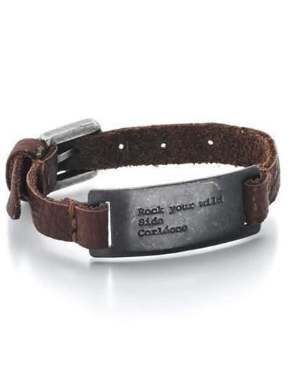 Skinn armbånd med stål